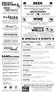 Drinks menu text on page