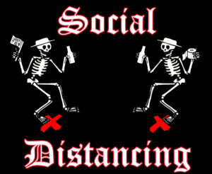 graphic of dancing skeletons with text reading Social Distancing
