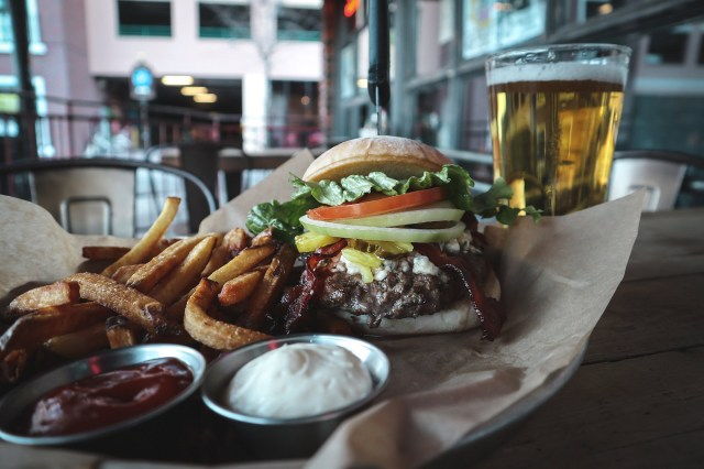 Loosey's Build-Your-Own Burger with Fries and a Beer