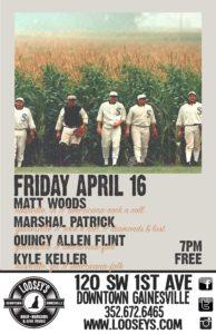 Outdoor show at Loosey's with Matt Woods, Marshall Patrick, Quincy Allen Flint, and Kyle Keller